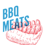 imagery of ribs with words BBQ MEATS over it in blue