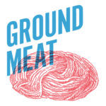 Ground Beef imagery with words GROUND MEAT over it in blue